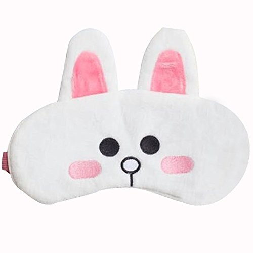 Geartist GEM01regolabile mascherina per dormire Fluff Sleep Eyeshade Blindfold amanti per adulti e bambini, ideale per viaggi in auto/treno/aereo, shift work, meditazione, emicranie, Napping White rabbit