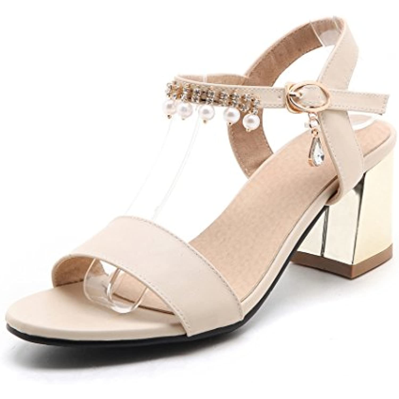 OALEEN  s Elégante Femme Bout Ouvert Talons Moyen Moyen Moyen Bride Cheville Chaussures Soirée - B073FSG5V8 - 87b290