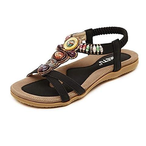 Ete 2016 Sandales Femmes Plates Pas Chere Sandales Doux Fashion PerléE Clip Toe Flats Femmes Sandales Herringbone BohêMe (EU 41-Pied Longueur:10.1-10.4