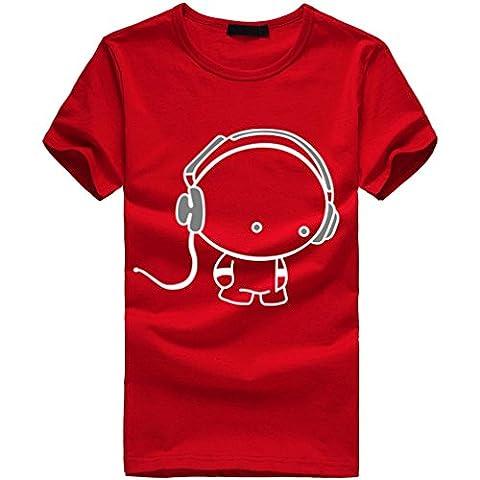 T-Shirt Homme, Oyedens JY1996y Manche Courte Imprimé T-shirt Sport Décontracté Tops (M, Rouge)