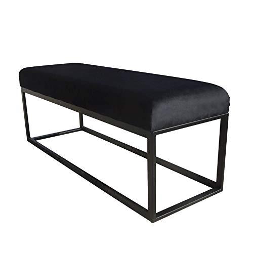 Damiware Couchy Sitzhocker Sitzbank | Esszimmer, Küche, Wohnzimmer | Samt Stoffbezug und Metallbeine, 121 x 39 x 44,5 cm (Samt Schwarz)