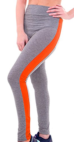 U-shot Femme Taille Empire Fitness Sports Pantalon Stretch Casual Leggings  Gris clair + Orange 4c01e3093c5