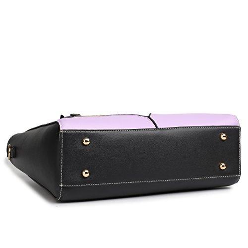 Miss Lulu Leather Look V-Shape Shoulder Handbag (Purple)