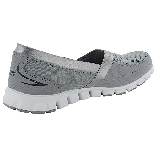Skechers Ez Flex Take It Easy Womens Slip On Sneakers Ampio Larghezza Gray / White
