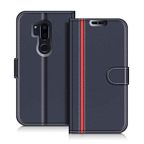 COODIO LG G7 ThinQ Hülle Leder Lederhülle Ledertasche Wallet Handyhülle Tasche Schutzhülle mit Magnetverschluss/Kartenfächer für LG G7 ThinQ, Dunkel Blau/Rot