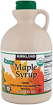 Kirkland Signature 100% Pure Organic Maple Syrup 1 Litre, Canada grade a amber, Rich Taste