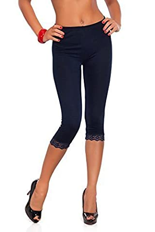 Futuro Fashion Court 3/4 Longueur Leggings Coton Avec Dentelle Tous