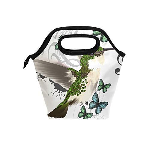 Bolsa de almuerzo con cierre para picnic, diseño abstracto de pájaros y...