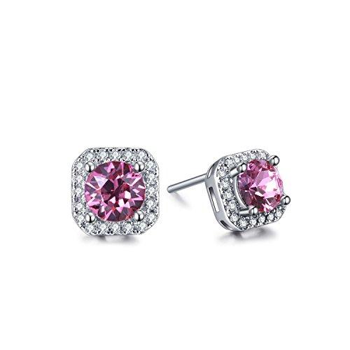 ZMIKI Damen Ohrstecker Ohrringe 925 Sterling Silber Rosa Kristalle & Würfel-Zirkonia Schmuck Set mit Geschenk Box (Quadratisch)