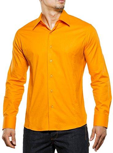 Reslad Herren-Hemd Langarmhemd Bügelleicht Slim Fit Figurbetont Uni RS-7002 Orange