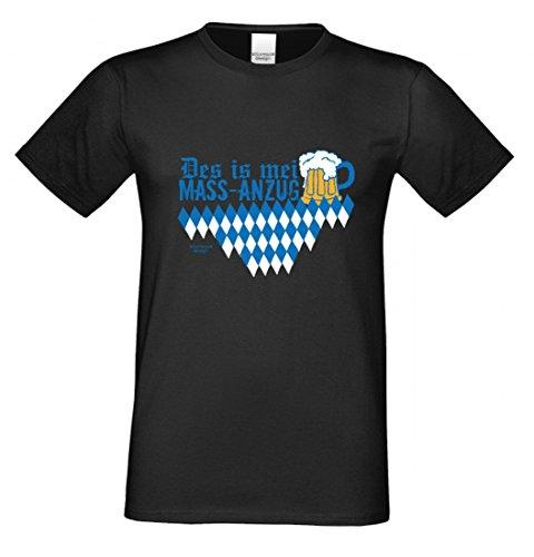 Wiesn T-Shirt statt Tracht & Dirndl - Des is mei Mass-Anzug - Lustiges Spruchshirt Geschenk Oktoberfest & Volksfest bl2 (Bayerische Anzug)