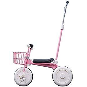 GIFT Lightweight Children's Trolley -2 In 1 Kid's Trike High Carbon Steel Detachable Push Rod 5.5kg Multi-color Optional,Pink   13