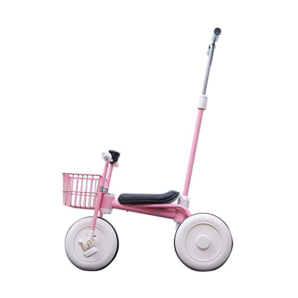 GIFT Lightweight Children's Trolley -2 In 1 Kid's Trike High Carbon Steel Detachable Push Rod 5.5kg Multi-color Optional,Pink GIFT Material: high carbon steel + ABS + EVA wheel Features: The push rod can be adjusted to height, suitable for people of different heights; the front wheel is clutched, safer, the handle is turned to 30° limit, anti-rollover Performance: high carbon steel frame, stronger and stronger bearing capacity; EVA wheel is non-slip wearable, suitable for all kinds of road conditions, good shock absorption capacity, artificial leather seat, baby ride more comfortable 1