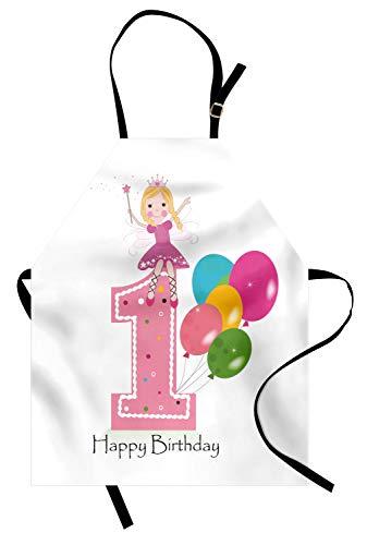 ABAKUHAUS 1. Geburtstag Kochschürze, Prinzessin Fairy Party Theme mit Best Wishes Rosa Zauberstab und Ballons, Farbfest Höhenverstellbar Waschbar Klarer Digitaldruck, Hellrosa und Lila