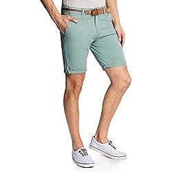 oodji Ultra Hombre Pantalón Corto de Algodón con Cinturón, Verde, ES 40 / M