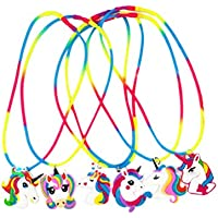 FENICAL Collar Unicorn Party Supplies Silicone Kids Party Favors Decor Toy para niños 6pcs
