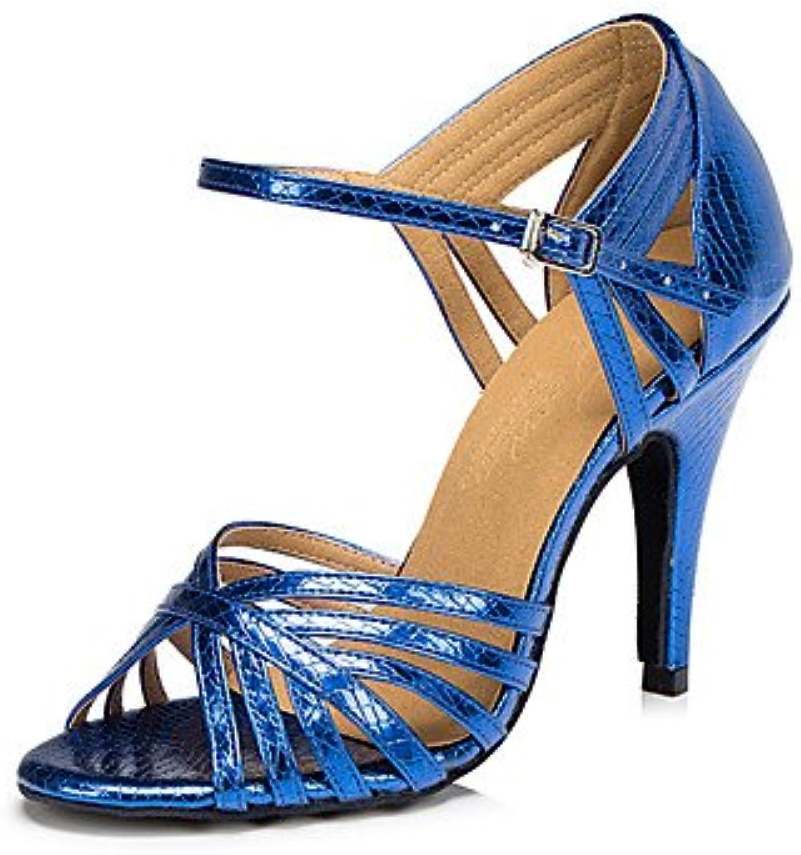 FJY&WX Mujer Latino Semicuero Sandalia Zapatilla Profesional Tacón Cuadrado Dorado Rojo Azul , us6 / eu36 / uk4...