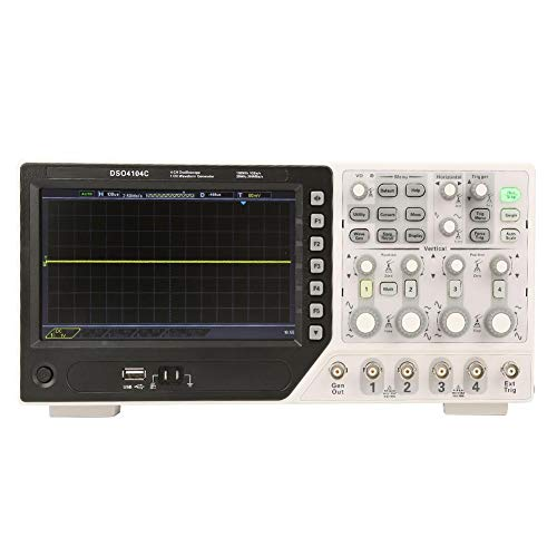 Hantek USB Digital Oszilloskop DSO4104C Digital Speicher Oszilloskop 64K 4CH 100MHz Signalquelle 1GS/s 1CH Arbiträr/Funktion Wellenform Generator EXT+AFG+DVM+Auto Bereich Funktion,1GS/s Sample Rate(EU Stecker)