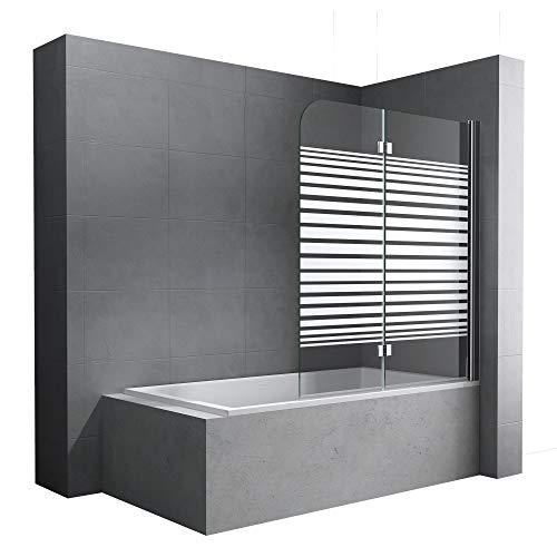 Faltwand Badewanne 120x140 cm Badewannenaufsatz Duschwand 180° ESG Teilsatiniert NANO C1408SR Mai&Mai
