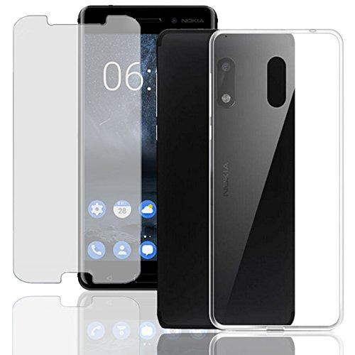 Eximmobile Silikon Case + Panzerfolie für Nokia 8 Sirocco Handyhülle mit 9H Echt Glasfolie Schutzhülle mit Schutzfolie Handytasche Silikonhülle Tasche Hülle Bildschirmschutz Bildschirmschutzfolie