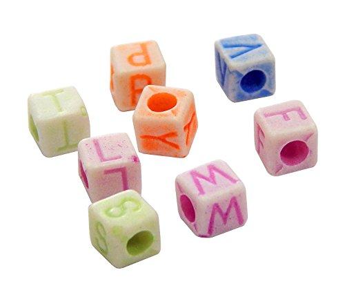 Perlin 500 Buchstaben Perlen, Buchstabenperlen 5mm Würfel ''A-Z'' mit weiße buchstaben, Alphabet beads, Perlenmischung Perle zum fädeln für Armbänder Auffädeln, Halsketten D110 x 2