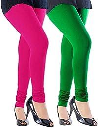 Spring Up Pink Dark Green Woman's Cotton Lycra Premium Leggings (Pack Of 2) - B075W76QK9