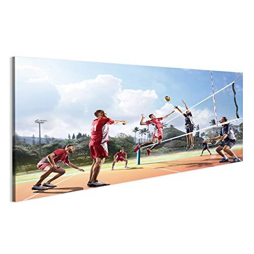 islandburner Bild Bilder auf Leinwand Professionelle Volleyballspieler in Aktion Beach Volleyball Wandbild Leinwandbild Poster
