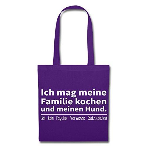 Spreadshirt Mag Familie Kochen Und Hund Verwende Satzzeichen Stoffbeutel Lila