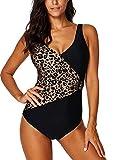 AOQUSSQOA Damen Badeanzug Einteilege Leopardenmuster Bademode Figurformend Bauchweg Bikini Große Größe Strandmode (EU 36-38 (S),Leopard2)