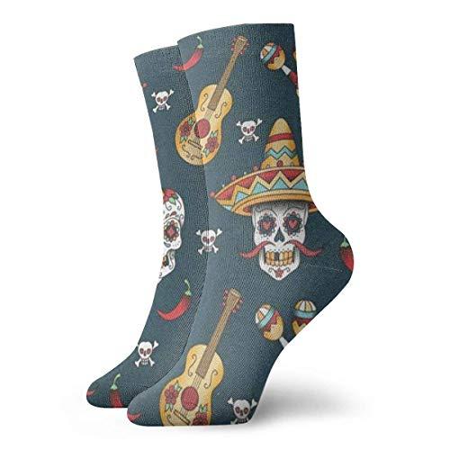 Zhengzho Socken Atmungsaktiv Happy Halloween Floral Sugar Skulls Crew Socke Exotic Modern Women & Men Printed Sport Athletic Socken 30 cm (11,8 Zoll) (Skull Halloween Sugar)