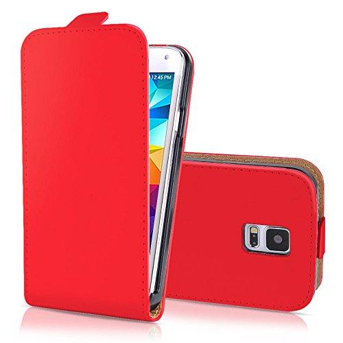 G4GADGET Samsung S5 Rouge Flip Portefeuille Housse en Cuir synthétique avec Deux emplacements de Carte pour Samsung S5