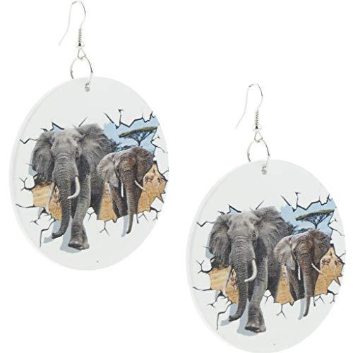 B Baosity 1 Par Mujer Étnico Elefante Africano Patrón Pendientes De Madera Gancho Cuelga África Bisutería 6cm