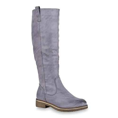 Stiefelparadies Warm Gefütterte Stiefel Damen Winterstiefel Damen Boots Schnallen Profilsohle Schuhe Kunstfell Winterschuhe Flandell Blau Grau