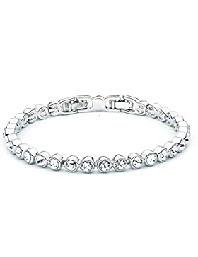 MYJS Tennis Rhodium Plated Classic Bracelet with Clear Swarovski Crystals , 17+2cm Extender