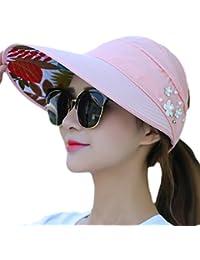 ec371e90498 Westeng Sun Cap Ladies Foldable Beach Hat Wide Brim Plain Visor Hat Summer  UV Sun Protection
