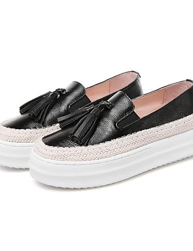 ZQ gyht Scarpe Donna-Mocassini-Tempo libero / Casual-Comoda / Punta arrotondata-Plateau-Di pelle-Nero / Bianco , white-us8 / eu39 / uk6 / cn39 , white-us8 / eu39 / uk6 / cn39 black-us6.5-7 / eu37 / uk4.5-5 / cn37