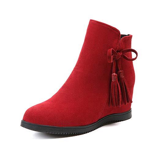 HRCxue Pumps Fransen Damen Stiefel niedrigen Tube Keil mit vielseitigen Stiefel Kinder Bequeme warme Baumwolle Schuhe, rot, 3 (Niedrige Keil Bequeme)