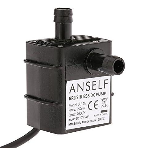 Anself Ultra-quiet Mini DC12V 5W Micro Brushless Water Oil Pump Waterproof Submersible Fountain Aquarium Circulating 260L/H Lift