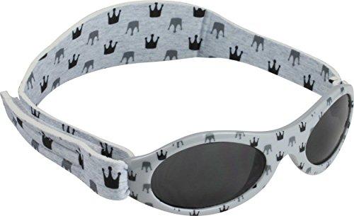 Dooky Baby Banz Baby-Sonnenbrille 0-2 Jahre | Light Grey Crowns | 100% UV-A und B Schutz UV400 | Mit verstellbarem Neoprenband