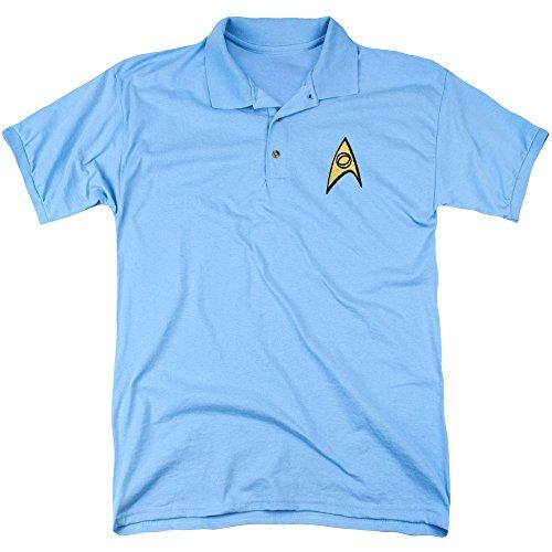 Star Trek - Herren Wissenschaft Patch-Polo Carolina Blue