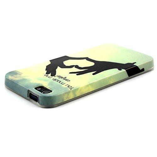 [A4E] Handyhülle passend für Apple iPhone 5 (5S, SE) aus TPU-Silikon, mit YOLO 'be free' Slogan, Vögeln und Baum (gelb, blau, schwarz, weiß) YOLO - you made me..