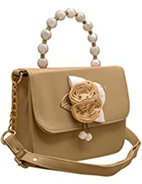 JFL Fancy Stylish Party Wear Women's Sling Bag With Pearls Handle And 3d Rose Flower.