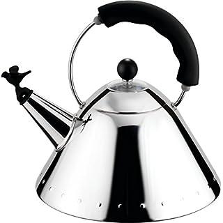 Alessi Wasserkessel mit Griff, aus Edelstahl, vogelförmige Flöte aus PA, schwarz