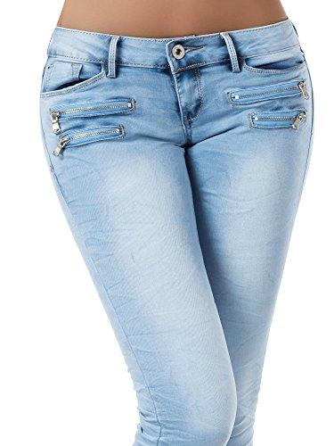 L851 Damen Jeans Hose Hüfthose Damenjeans Hüftjeans Röhrenjeans Röhrenhose Röhre, Größen:36 (S), Farben:Hellblau -