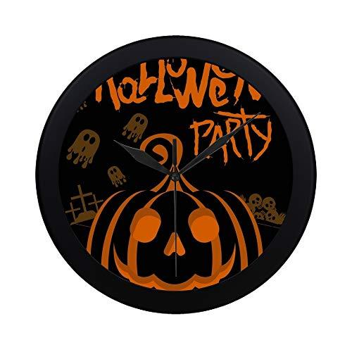 SHAOKAO Moderne einfache Halloween-Party-Plakat-Schablonen-Kürbis-Wanduhr-Innen-Nicht-tickender Stiller Quarz-ruhige Bewegung-Wand-Clcok für Büro, Badezimmer, Wohnzimmer dekorativ 9,65 Zoll