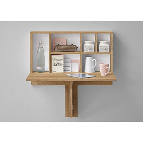 Table pliante coloris chêne ancien / blanc - Dim : 80 x 83,2 x 50,4 cm -PEGANE-