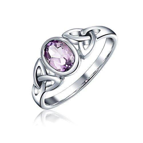 Bling Jewelry Amethyst Lila Keltisch Trinity Knot Triquetra Ringe für Damen Jugendlich 1-MM-Band Sterling Silber Februar Geburtsstein