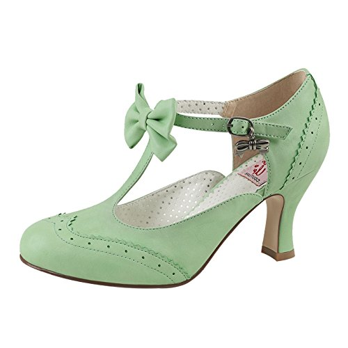 Pin Up Couture - Retro Foodwear Kitten Pumps in Mintgrün FLAPPER-11 Grün, EU 39