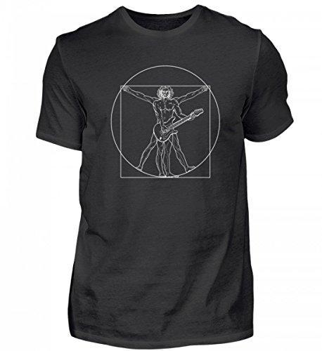 Hochwertiges Herren Shirt - Vitruvianischer Gitarrenspieler Leonardo Da Vinci - Gitarre/Gitarrist/Akustische (T-shirt Gitarristen Nur)