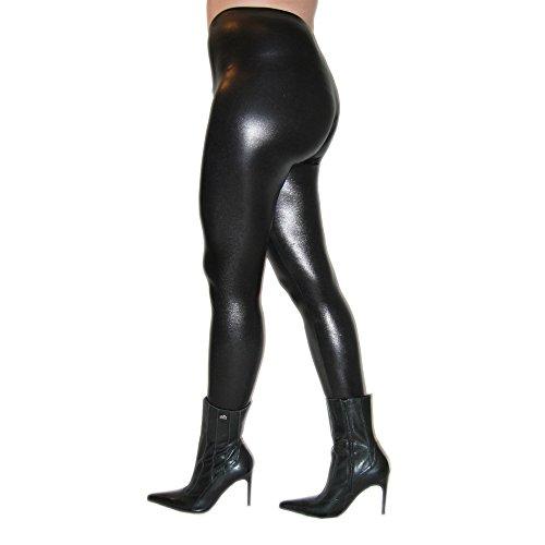 Ziehen Spandex-leggings (Rubberfashion glänzende Leggings Wetlook, Glanz Leggin mit Schrittreißverschluss und Füsslingen bis zur Hüfte für Frauen und Mädchen Menge: 1 Stück metallic Schwarz L)